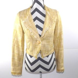 Cabi Daisy Tweed Crop Blazer With Fringe, Yellow